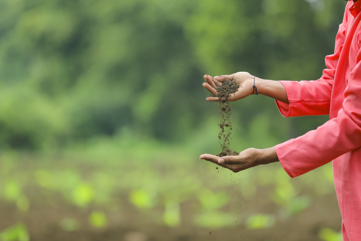 Farmer with soil in India
